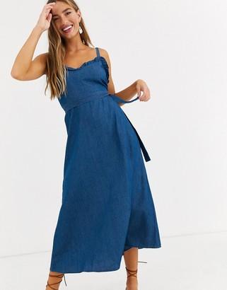 Lost Ink denim midi dress with frill detail-Blue