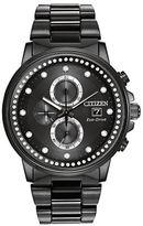 Citizen Ladies Nighthawk Eco-Drive Chronograph Black Stainless Steel Bracelet Watch