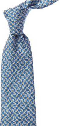 Kiton Light Blue Fish Silk Tie