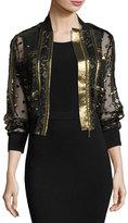 Elie Saab Embroidered Tulle & Lace Bomber Jacket, Black/Gold