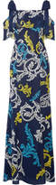 Mary Katrantzou Canasta Cold-shoulder Printed Swiss-dot Chiffon Gown - Navy