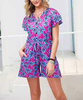 Reborn Collection Women's Rompers Magenta - Magenta & Blue Tropical Button-Front Romper - Women