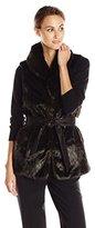 Ellen Tracy Outerwear Women's Faux Fur Vest with Waist Tie