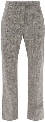 Alexander McQueen Prince Of Wales-check Wool-blend Cropped Trousers - Grey Multi
