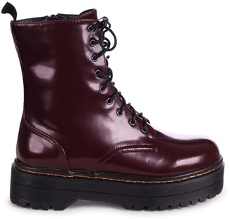 Linzi MAE - Burgundy Shine Nappa Military Style Lace Up Boot With Chunky Rubber Sole