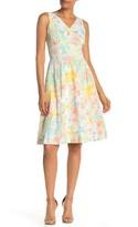 Modern American Designer Cotton Eyelet A-Line Midi Lace Dress