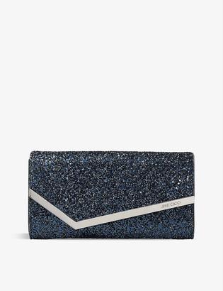 Jimmy Choo Emmie glitter-embellished clutch