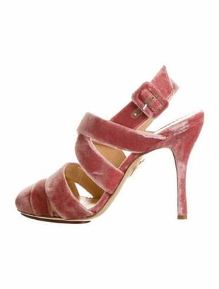 Charlotte Olympia Velvet Round-Toe Pumps Pink