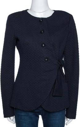 Armani Collezioni Navy Blue Textured Tie Detail Jacket L