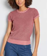 ModCloth Women's Pullover Sweaters - Burgundy Contrast-Trim Textured Short-Sleeve Sweater - Juniors & Plus