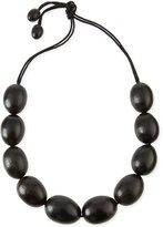 Natori Acacia Wooden Bead Necklace, Black