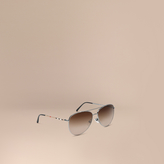 Burberry Check Arm Pilot Sunglasses
