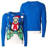 Loyalty And Faith Mens Christmas Sweater Novelty Knitted Blue Xmas Jumpers Sizes S -XXL
