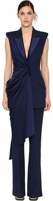 Alexander McQueen Long Draped Light Wool & Silk Vest