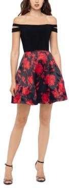 Blondie Nites Juniors' Floral-Skirt Off-The-Shoulder Dress
