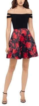 Blondie Nites Juniors' Floral-Skirt Off-The-Shoulder Dress