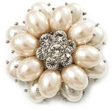 Avalaya Bridal Imitation Pearl Dimensional Flower Brooch ( Tone)