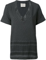 Cecilie Copenhagen - short sleeved V-neck top - women - Cotton - One Size