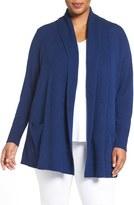 Sejour Plus Size Women's Open Front Wool & Cashmere Cardigan