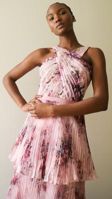 Marchesa Notte Halter 3-Tiered Gown with Self-Belt