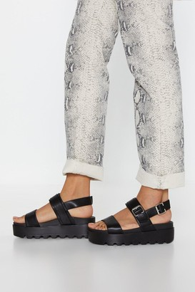 Nasty Gal Womens Faux Leather Platform Sandals with Cleated Platform - Black