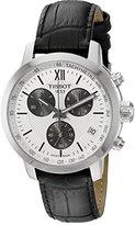 Tissot Men's T055.417.16.038.00 'Prc 200' Silver Dial Black Leather Strap Chronograph Swiss Quartz Watch