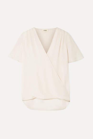 L'Agence Karan Wrap-effect Silk-chiffon Top - Cream