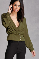 Forever 21 FOREVER 21+ Plunging Button-Front Top