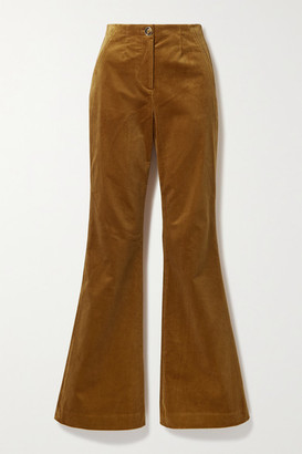 Veronica Beard Basima Cotton-blend Corduroy Flared Pants - Saffron