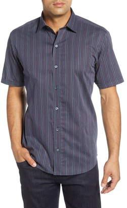Bugatchi Shaped Fit Stripe Short Sleeve Button-Up Shirt