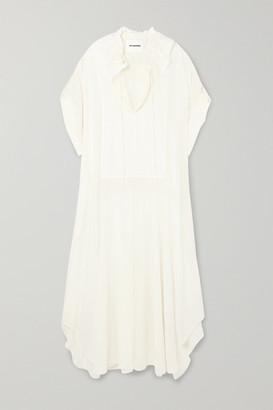 Jil Sander Gathered Ruffled Cotton And Silk-blend Dress - Off-white