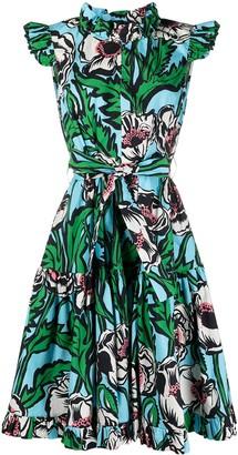 La DoubleJ Floral-Print Tiered Short Dress