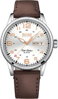HUGO BOSS 1513333 pilot stainless steel and leather watch