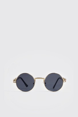 boohoo Mens Black Arm Detail Vintage Sunglasses, Black