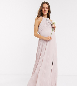 TFNC Maternity bridesmaid exclusive pleated maxi dress in pink