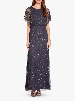 Adrianna Papell Beaded Blouson Dress, Gunmetal