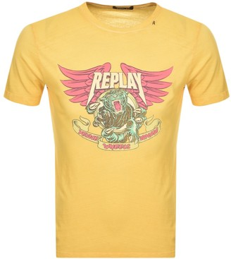 Replay Logo Crew Neck T Shirt Yellow