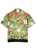 Gucci Flora Olive Printed Silk Shirt