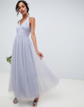 Asos Design DESIGN soft tulle maxi dress-Blue
