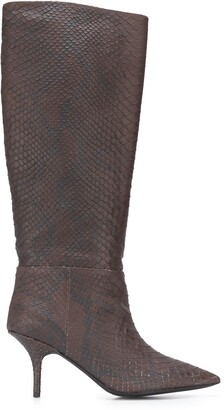 Yeezy Snakeskin Effect 70 Knee High Boots
