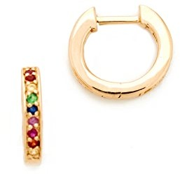 Sydney Evan 14k Gold Small Rainbow Huggie Hoop Earrings