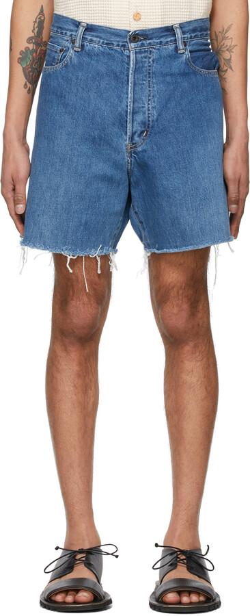 Thumbnail for your product : Kuro Blue Crossed Denim Shorts