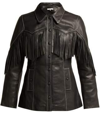 Ganni Angela Fringed Leather Jacket - Womens - Black