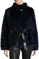 Gorski Reversible Down & Fur Belted Puffer Coat, Navy