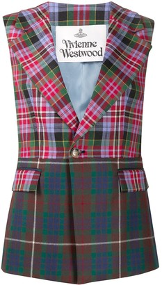 Tartan-check sleeveless blazer