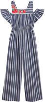 Bonnie Jean Cold Shoulder Striped Cotton Jumpsuit, Big Girls (7-16)