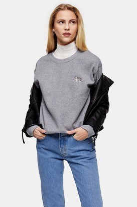 Topshop Womens Dark Grey Tiger Emoji Sweatshirt - Grey