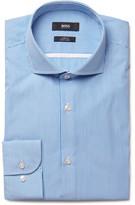 HUGO BOSS Blue Jerrin Slim-Fit Cutaway-Collar Striped Cotton-Poplin Shirt