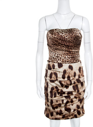 Dolce & Gabbana Brown Animal Printed Silk Ruched Strapless Corset Dress M