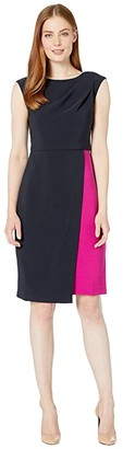 Maggy London Mystic Crepe Color Block Dress (Dark Navy/Raspberry) Women's Dress